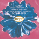 Barber: Adagio; Symphony No.1 etc./Baltimore Symphony Orchestra, David Zinman
