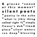 "6 Pieces ""sense at this moment""/Silent Poets"